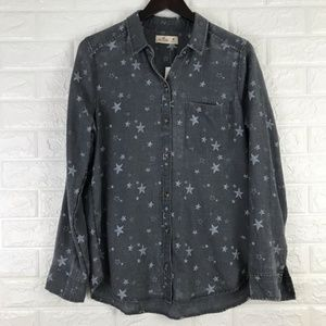 Hollister Distressed Star Print Button Shirt M